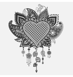 Floral heart - dream catcher vector