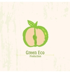 Green apple logo in grunge style on rustic vector