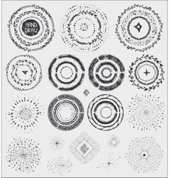 Doodle artistic wreathframeburstblack vector