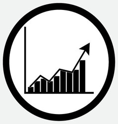 Growth chart icon black white vector