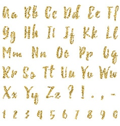 Gold alphabet isolated on white background vector