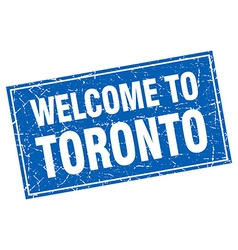 Toronto blue square grunge welcome to stamp vector