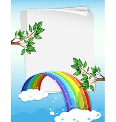 Paper design with rainbow and branches vector