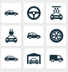 Auto icons set collection of wheel car vector