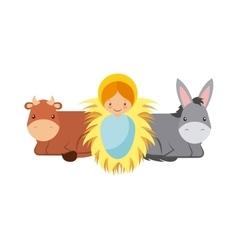 Baby jesus with animals vector