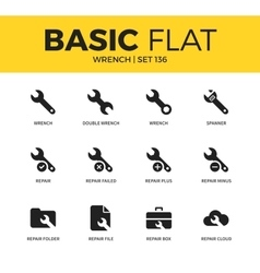 Basic set of wrench icons vector
