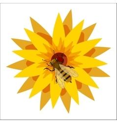 Bee on flower icon cartoon style vector
