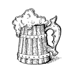 Beer mug engraving style vector