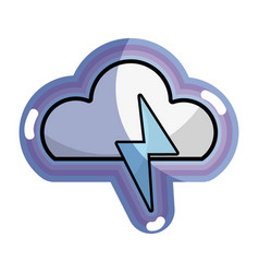 Blue cloud and thunder storm weather vector