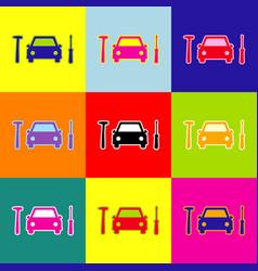 Car tire repair service sign pop-art vector