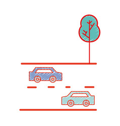 Cars transportation in the double via road and vector