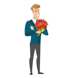 Caucasian groom holding a bouquet of flowers vector