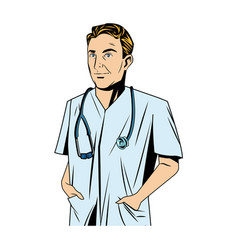 Cheerful male doctor with stethoscope and hand in vector