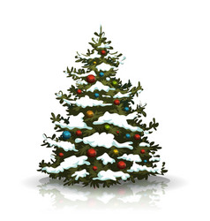 christmas pine tree with snow and balls vector image vector image