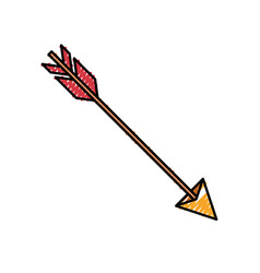 colored crayon silhouette of hunting arrow vector image