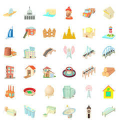 Construction site icons set cartoon style vector