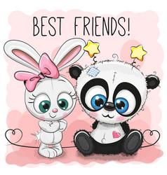 cute panda and rabbit girl vector image vector image