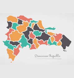 Dominican republic map with states vector
