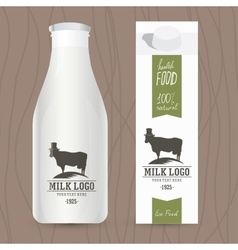 Eco design concept for milk bottle and packaging vector