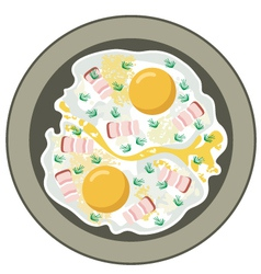 Fried eggs with bacon vector image