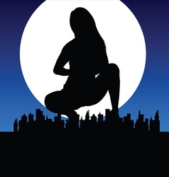 Girl silhouette with city vector
