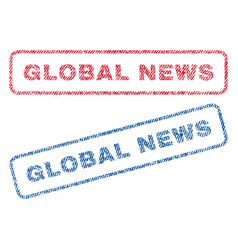 global news textile stamps vector image vector image