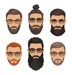 Hipsters bearded men with different hairstyles vector
