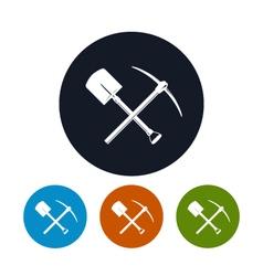 Icon shovel and pickaxe vector