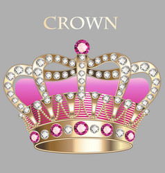 Imperial gold crown with jewels vector