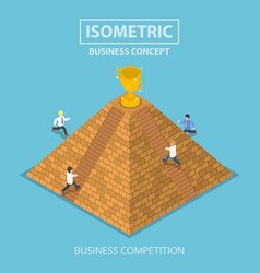 Isometric businessman trying to get winner trophy vector