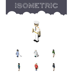 Isometric people set of policewoman seaman vector