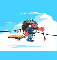 Man alpinist character vector