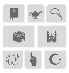 Monochrome set with islamic icons vector