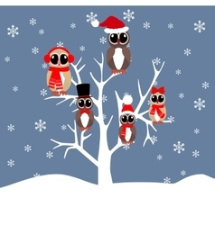 Owls family on the tree vector
