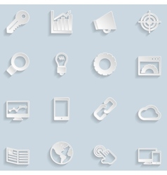 Paper Seo Icons vector image vector image