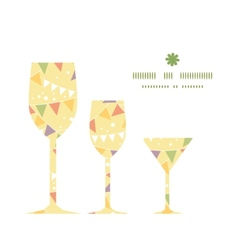 Party decorations bunting three wine glasses vector
