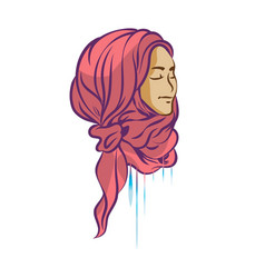 Picture of beautiful girl in hijab vector