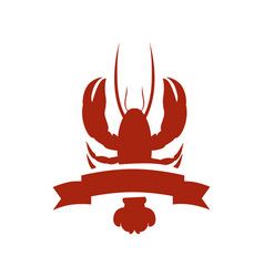 Red silhouette lobster with ribbon vector