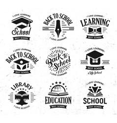 School logos set monochrome vintage design vector