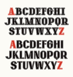 Set of uppercase font with contour vector