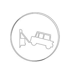 Silhouette circular contour tow truck vector