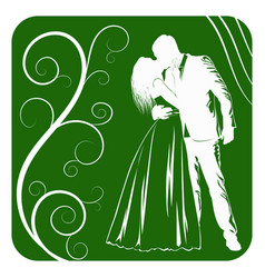silhouettes of kissing bride and groom on abstract vector image
