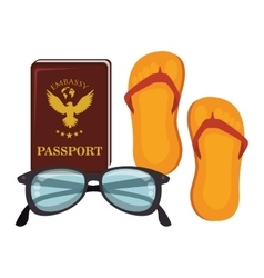 summer travel set isolated icons vector image