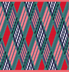 Tartan seamless rhombus texture red and blue vector