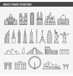 Top tourist attractions historical buildings vector