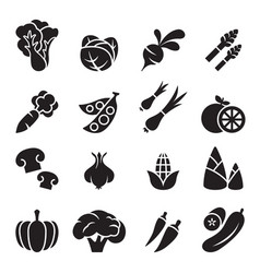 vegetable icon set 2 vector image vector image