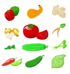Vegetables photo realistic set vector