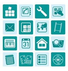 One tone mobile phone and computer icon vector