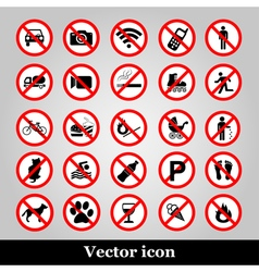 Set ban icons prohibited symbols red circle signs vector