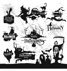 Halloween friday 13 horror party decorations set vector